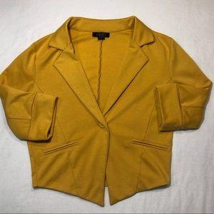 Mustard jacket blazer small 3/4 sleeve deb